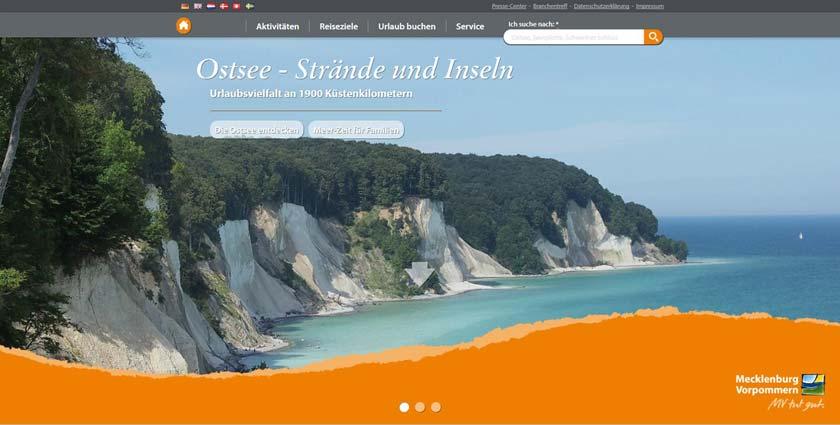 Ansicht der neuen Webseite von www.auf-nach-mv.de.