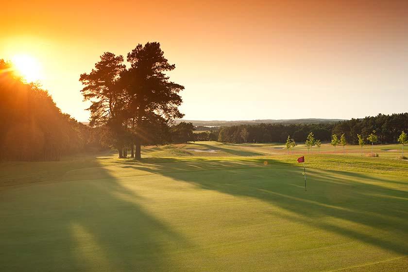 Blick auf den Golfplatz vom Best Western Plus Hotel Baltic Hills auf der Insel Usedom.