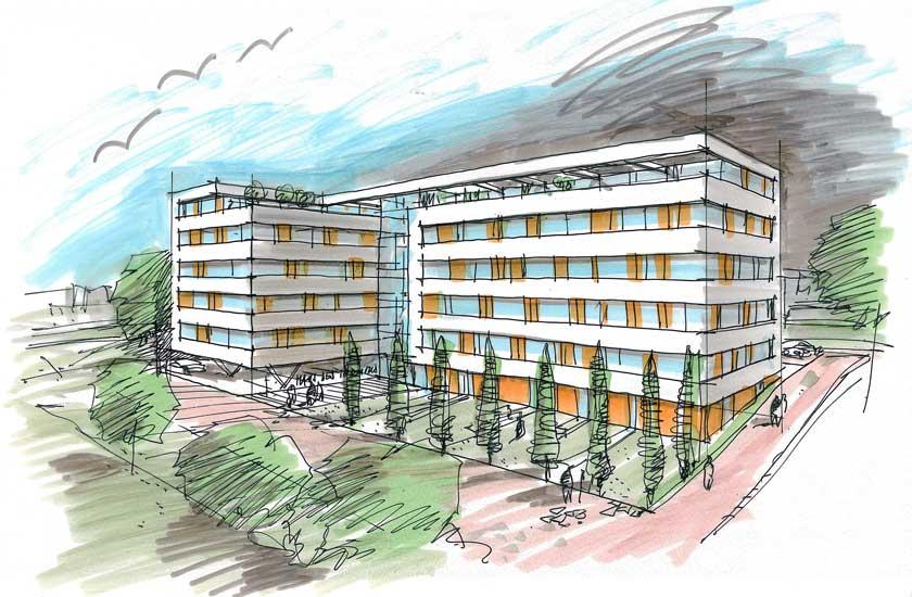 Internationales Haus des Tourismus in Rostock, Skizze: Bastmann + Zavracky BDA Architekten GmbH